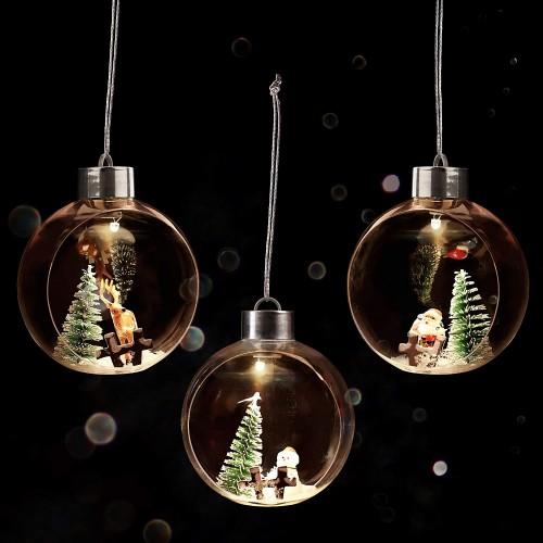 Set 3 Palline di Natale luminose LED con renne e Babbo Natale
