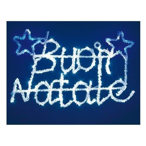 Scritta led blu e bianco Buon Natale da 52 x 33 cm