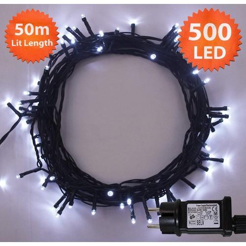 Luci di Natale da 500 LED, colore bianco, catena luminosa