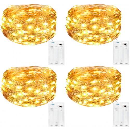 Set da 4 catene di luci a led da 5mt, luce gialla, per decorazioni varie