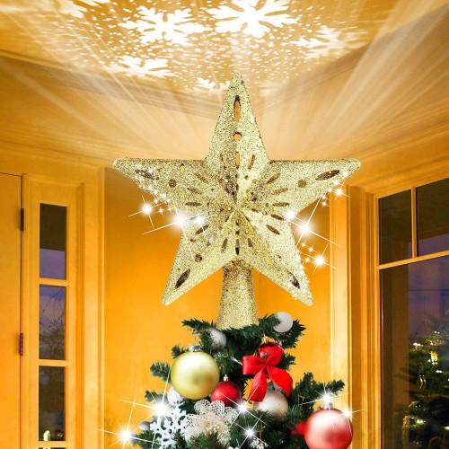 Puntale stella con luci a led per albero di Natale