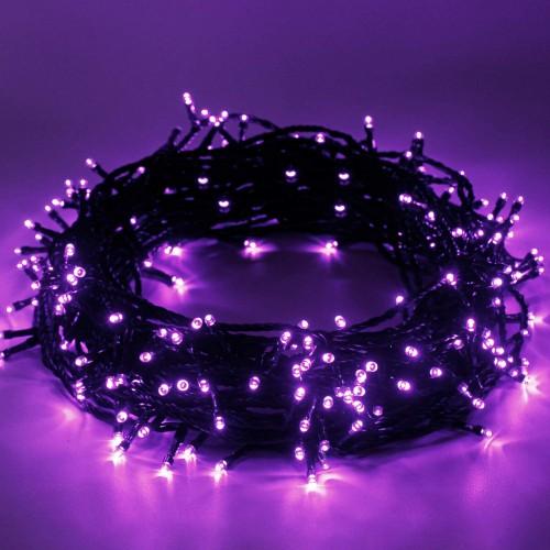 Set Luci natalizie da 12m con 120 led viola fluo