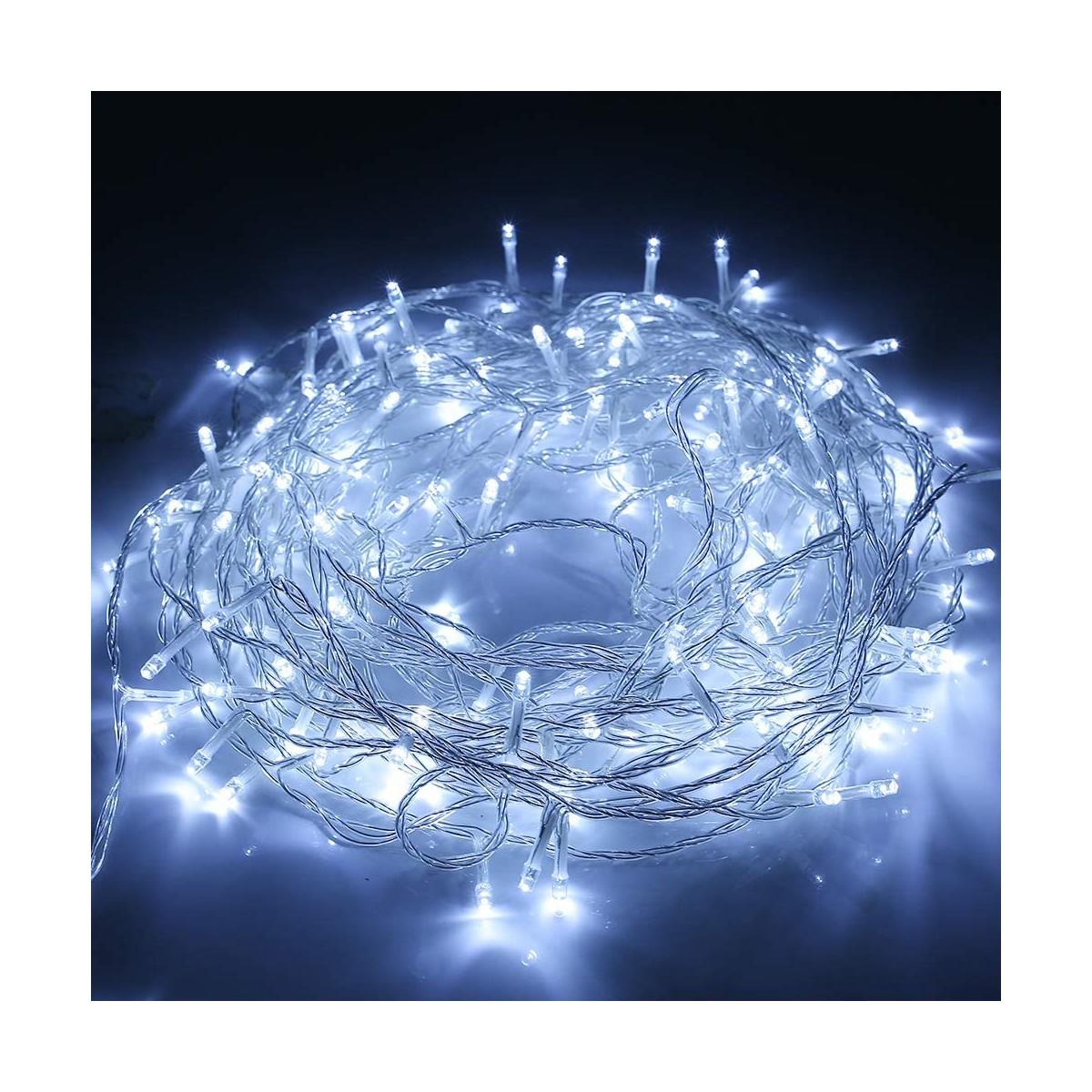 Catena di luci 200 LED da 23mt, colore bianco freddo