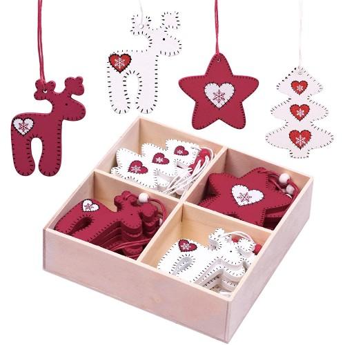 Set 24 decorazioni, Ciondoli in Legno per l'albero di Natale