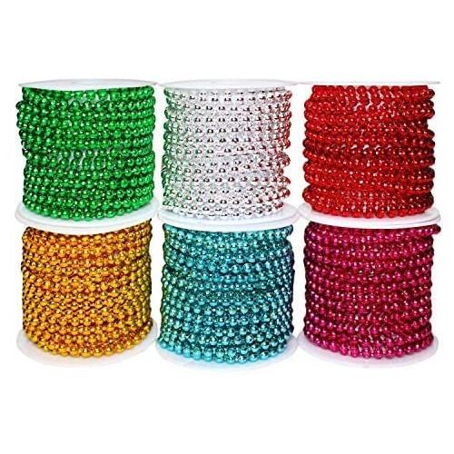 Set 6 Ghirlande di Perline da  2.7 m , colori assortiti