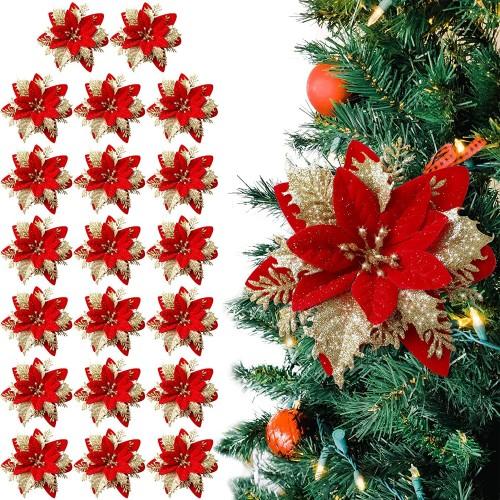 Set 20 Fiori artificiali rossi per l'albero di Natale, da 20 cm
