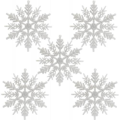 Set da 24 Fiocco di Neve argento da appendere su albero