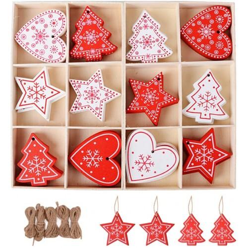 Set 48 Pendenti in legno natalizi con corda di iuta