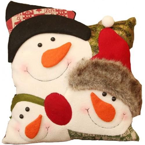 Cuscino Natalizio con Pupazzo di Neve, in flanella, idea regalo