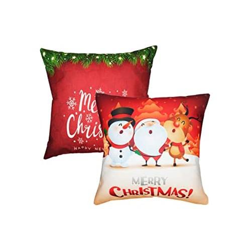 Set da 2 Federe per cuscino di Natale con Pupazzo di Neve