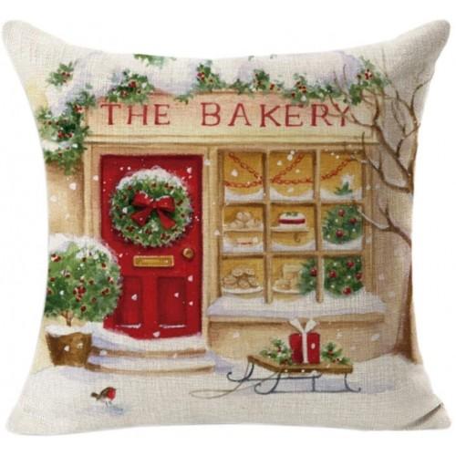 Federa natalizia per cuscino in lino, quadrata, idea regalo