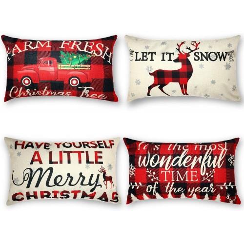 Set 4 Federe per cuscino Merry Christmas rettangolari, 30 x 50 cm