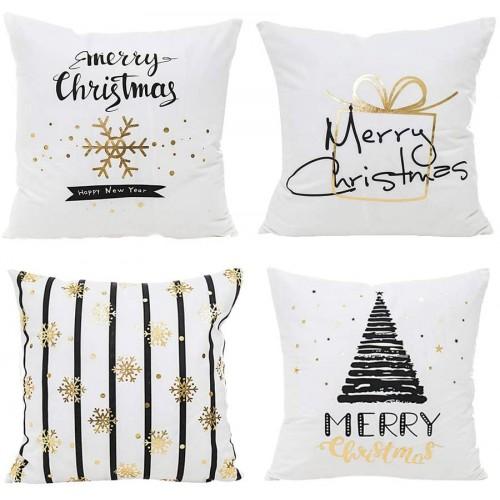Set 4 Fodere di Natale per cuscini, grafiche moderne, idea regalo