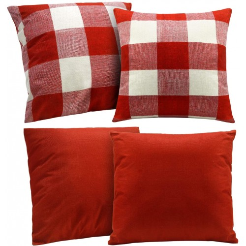 Set 4 Fodere per cuscini  bianche e rosse, arredo casa