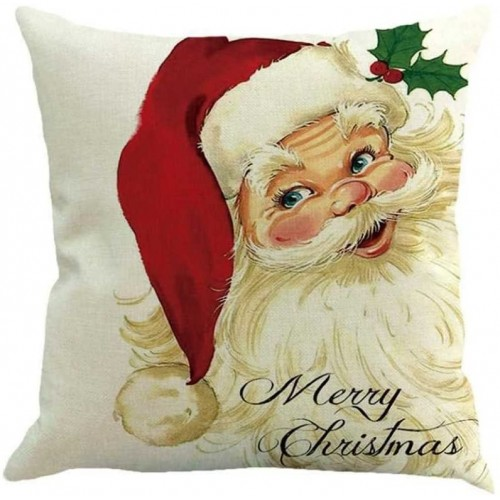 Federa cuscino in lino con Babbo Natale in lino da 45 cm