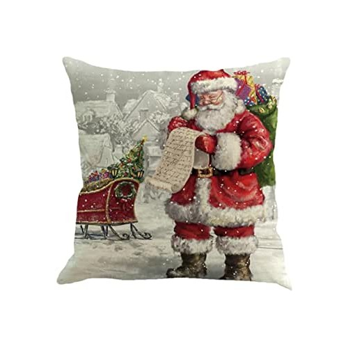 Cuscino di Natale con Babbo Natale, forma quadrata, da 45 x 45 cm