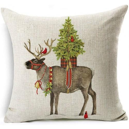 Copricuscino con stampa natalizia, renna vestita da Babbo Natale