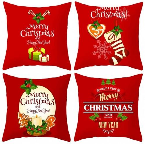 Set 4 copricuscini motivo natalizio per divano, da 45x45cm