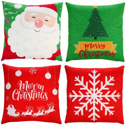 Set 4 Copricuscini natalizi da 45x45cm,in velluto, decorazioni casa