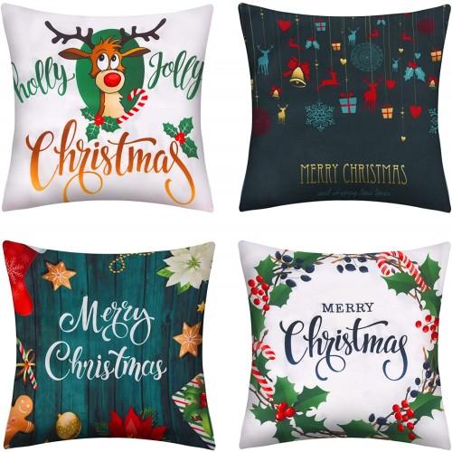 Set di 4 Federe in cotone e lino natalizie, 4 motivi di Natale