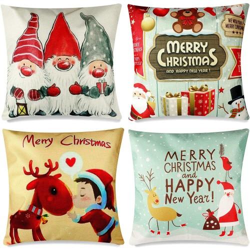 Set 4 federe per cuscini con Babbo Natale e elfi, decorazioni per casa