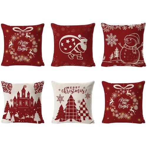 Set da 6 Federe per cuscini motivi natalizi stilizzati