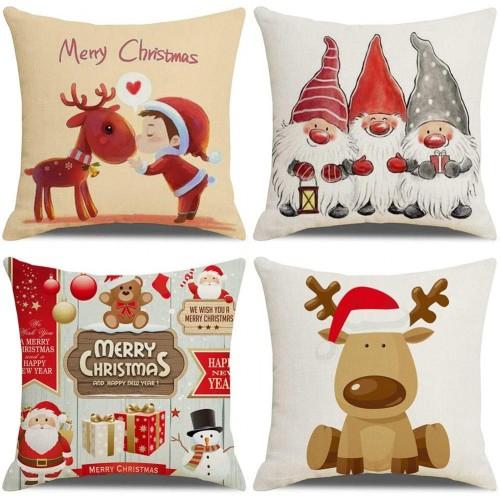 Set 4 copri cuscini Natalizi motivi Babbo Natale e renne