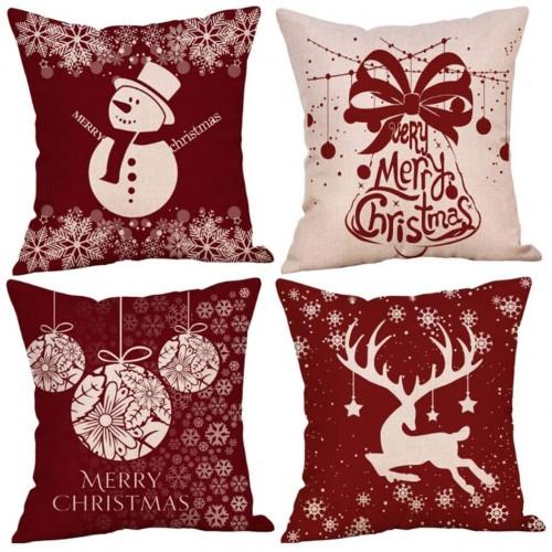 Kit da 4 Cuscini Natalizi per divano, idea regalo arredo