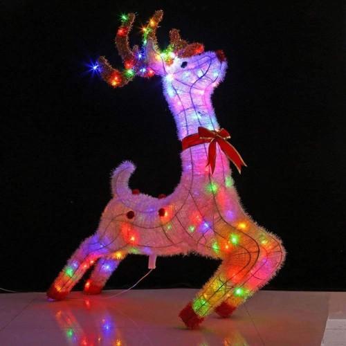 Renna luminosa a led multicolor da 1 metro, decorazione di Natale