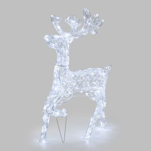Renna luminosa galoppante cda 85 cm, 200 LED Bianco Freddo