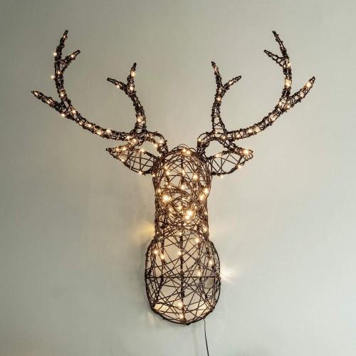Testa di Cervo Illuminata con 140 LED Bianchi, decorazione natalizia