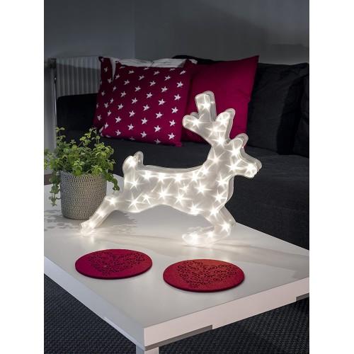 Renna luminosa decorativa a LED, con effetto stelle