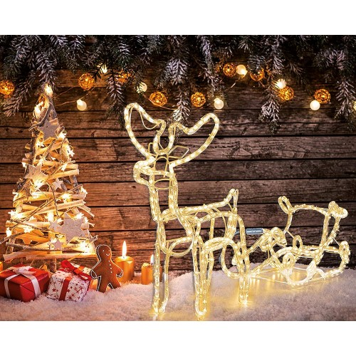 Decorazione a LED renna bianca con slitta di Natale
