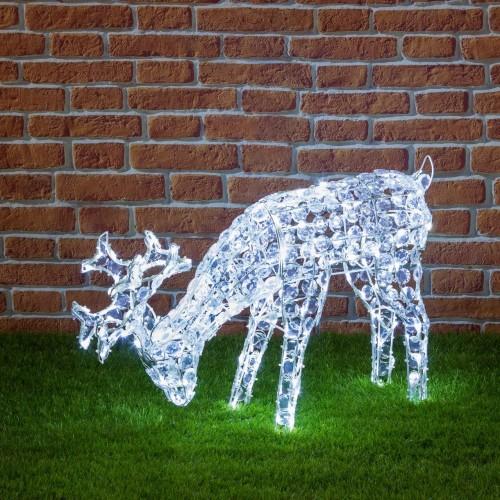 Renna luminosa che bruca con 200 LED, altezza 50 cm