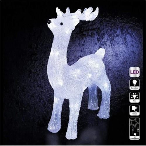 Renna luminosa effetto brina con 40 Led, luce fissa, decorazioni Natale