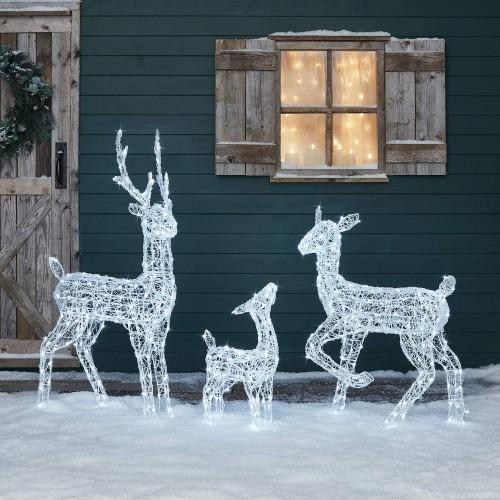 Set famiglia di renne luminose a led, 3 pezzi