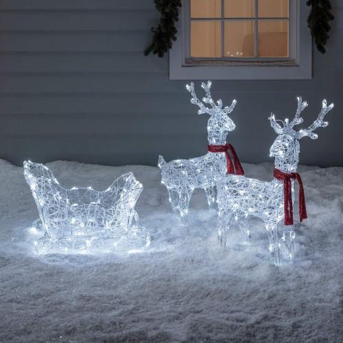 Slitta e renne luminose con LED bianchi