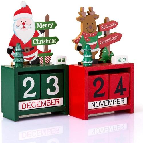Calendario di legno Natalizio, set da 2 pezzi, arredo per casa