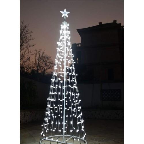 Albero di Natale a led da 210 Cm, struttura in metallo e 360 miniluci