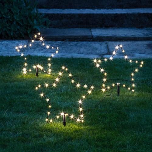 Set 3 Stelle natalizie luminose con 30 Led, luce bianca, per giardino