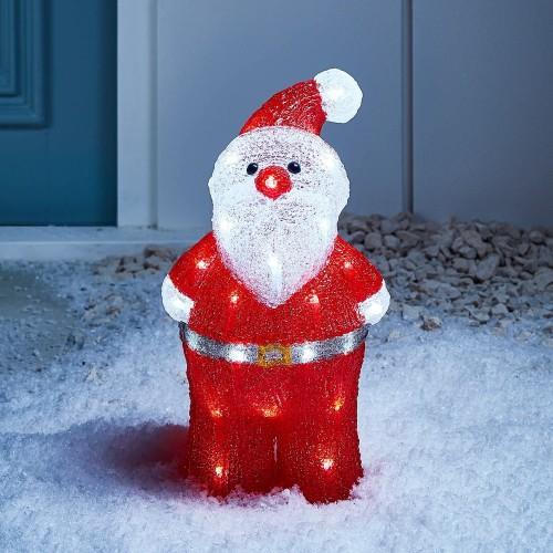Babbo Natale con 40 LED Bianchi per Interni ed esterni, in resina