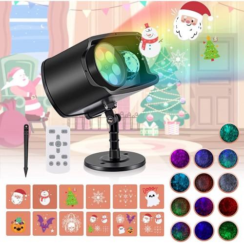 ❄ Proiettore luci di Natale con 12 schemi e 13 onde, con telecomando