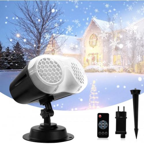 Proiettore caduta di neve e fiocchi, a led, con telecomando