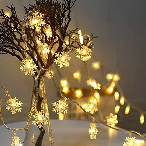 Strisce luminose con fiocco di neve a 20 LED, impermeabili, a batterie
