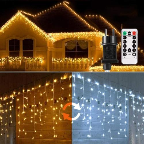 Cascata di Luci con 440 LED, 2x0,8m, 9 Modalità con telecomando