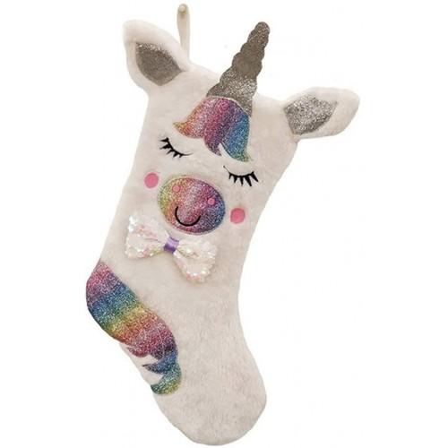 Calza della Befana Unicorno, in stoffa, da riempire con dolci