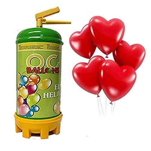 Bombola ad elio con 16 palloncini a cuore rossi in omaggio
