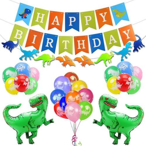 Phogary 24PCS Kit Decorazione Compleanno per Dinosauro: Buon Compleanno Banner, Ghirlanda, Palloncini Foil Dino, Palloncini C
