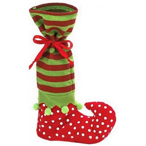 Calza della Befana stile elfo forma stivale, natalizia