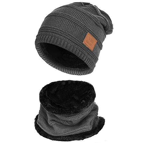 Cappello uomo invernale in maglia con sciarpa, idea regalo